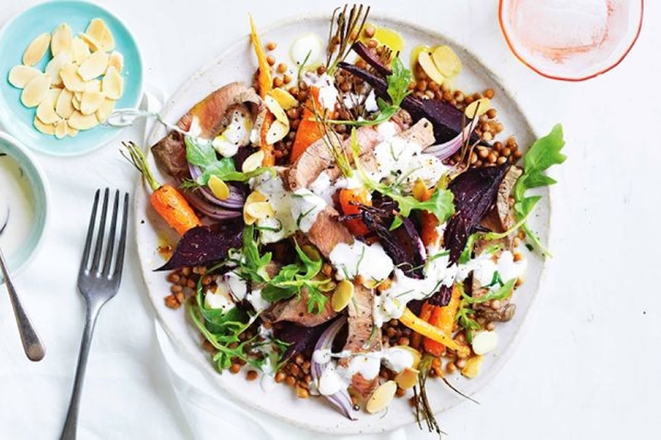 Roast Veg, Beef and Lentil Autumn Salad